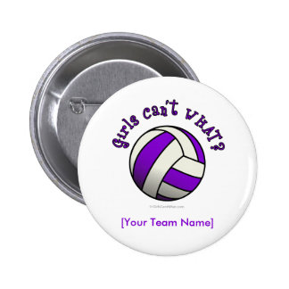 Voleibol púrpura pin redondo de 2 pulgadas