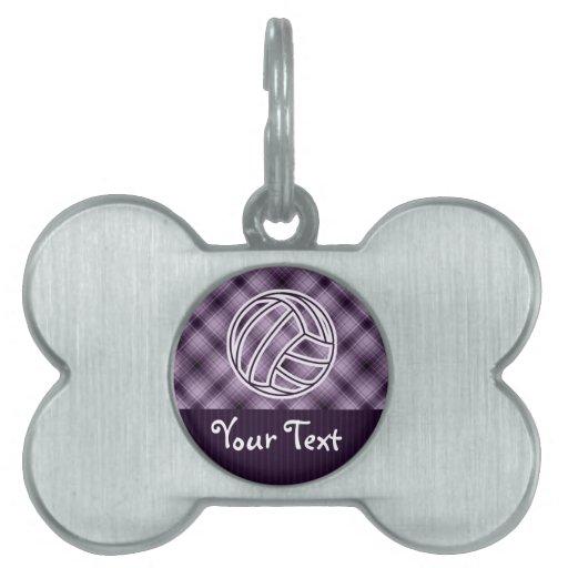 Voleibol púrpura placa de mascota