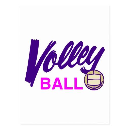 Voleibol (púrpura/rosa) postales
