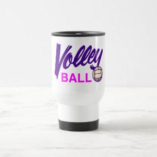 Voleibol (púrpura/rosa) taza de viaje de acero inoxidable