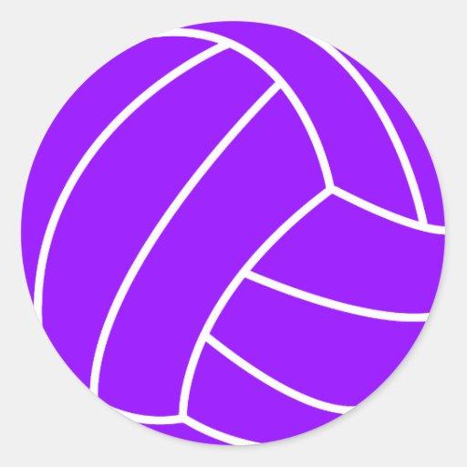 Voleibol púrpura violeta pegatina redonda