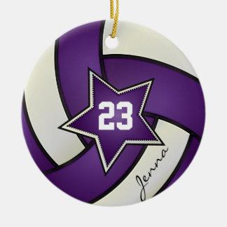 Voleibol púrpura y blanco de All Star Adorno Navideño Redondo De Cerámica
