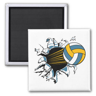 voleibol que rasga a través de azul y del oro imán cuadrado