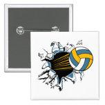 voleibol que rasga a través de azul y del oro pin cuadrada 5 cm