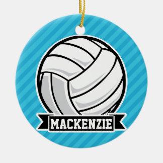 Voleibol; Rayas azules de cielo Adorno Navideño Redondo De Cerámica