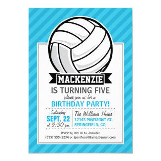 """Voleibol; Rayas azules de cielo Invitación 5"""" X 7"""""""