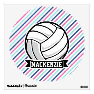 Voleibol; Rayas azules, rosadas, y blancas,