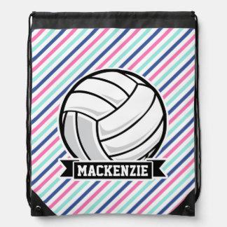 Voleibol; Rayas azules, rosadas, y blancas, Mochilas