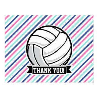 Voleibol; Rayas azules, rosadas, y blancas, Postal