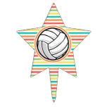 Voleibol; Rayas brillantes del arco iris Figura De Tarta