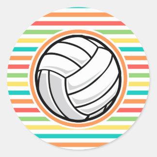 Voleibol; Rayas brillantes del arco iris Pegatina Redonda
