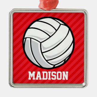Voleibol; Rayas del rojo del escarlata Adorno Cuadrado Plateado