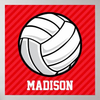Voleibol; Rayas del rojo del escarlata Póster