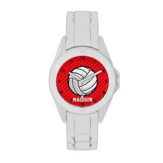 Voleibol; Rayas del rojo del escarlata Reloj