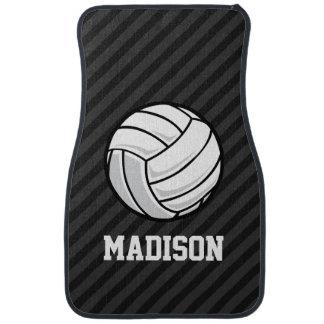 Voleibol; Rayas negras y gris oscuro Alfombrilla De Auto