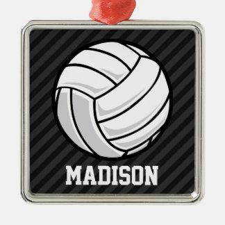 Voleibol; Rayas negras y gris oscuro Adorno Cuadrado Plateado