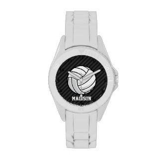 Voleibol; Rayas negras y gris oscuro Relojes De Pulsera