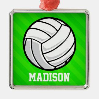Voleibol; Rayas verdes de neón Adorno Cuadrado Plateado