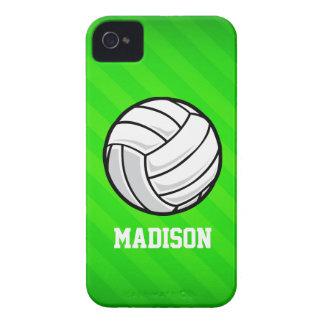 Voleibol; Rayas verdes de neón Case-Mate iPhone 4 Fundas