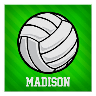 Voleibol; Rayas verdes de neón Póster