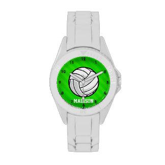 Voleibol; Rayas verdes de neón Reloj De Mano