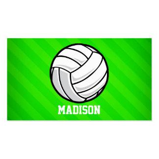 Voleibol; Rayas verdes de neón Tarjetas De Visita