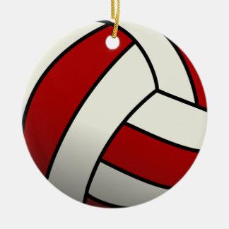 Voleibol rojo adorno navideño redondo de cerámica