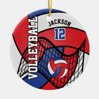 Voleibol rojo, blanco y azul adorno navideño redondo de cerámica