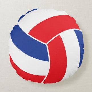 Voleibol rojo, blanco y azul cojín redondo