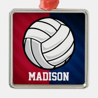 Voleibol; Rojo, blanco, y azul Adorno Cuadrado Plateado