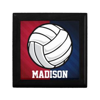 Voleibol; Rojo, blanco, y azul Joyero Cuadrado Pequeño
