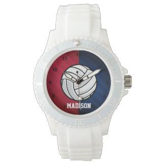 Voleibol; Rojo, blanco, y azul Relojes De Pulsera