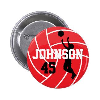Voleibol rojo con el jugador de la silueta pin redondo 5 cm