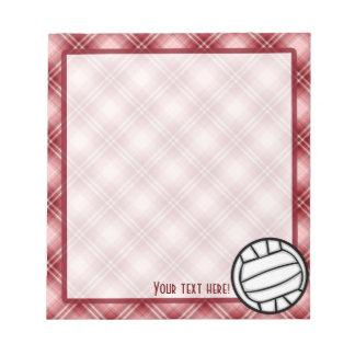 Voleibol rojo de la tela escocesa blocs de papel
