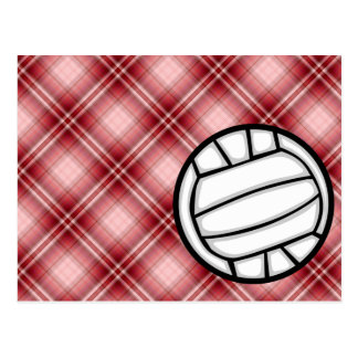 Voleibol rojo de la tela escocesa postal