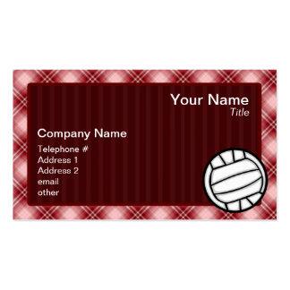 Voleibol rojo de la tela escocesa tarjetas de visita
