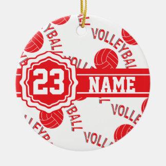 Voleibol rojo adorno redondo de cerámica