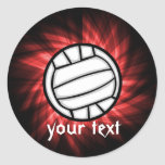 Voleibol; Rojo Etiquetas Redondas