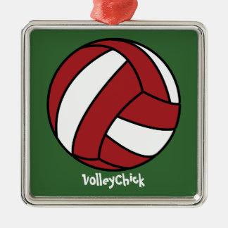 Voleibol rojo (personalizable) adorno cuadrado plateado