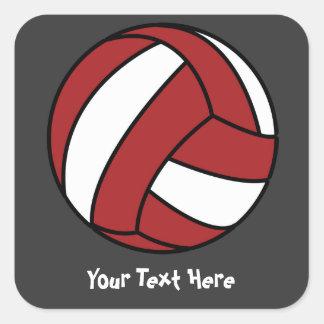 Voleibol rojo (personalizable) pegatina cuadrada