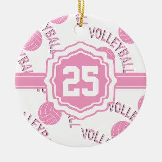 Voleibol rosado adorno navideño redondo de cerámica
