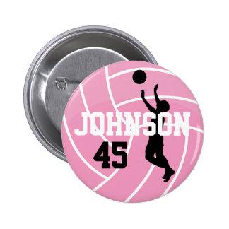 Voleibol rosado con el jugador de la silueta pin redondo 5 cm