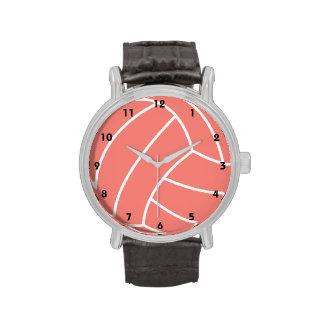 Voleibol rosado coralino reloj de mano
