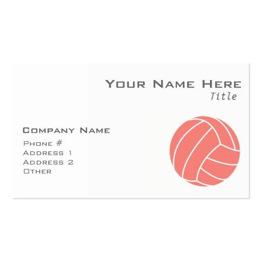 Voleibol rosado coralino plantilla de tarjeta de negocio