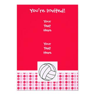 Voleibol rosado lindo invitación 12,7 x 17,8 cm