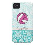 Voleibol rosado; Modelo del damasco Case-Mate iPhone 4 Fundas