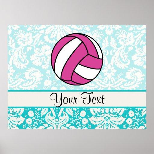 Voleibol rosado; Modelo del damasco Impresiones
