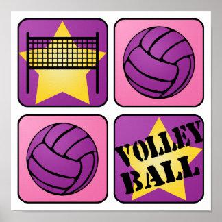 Voleibol rosado póster