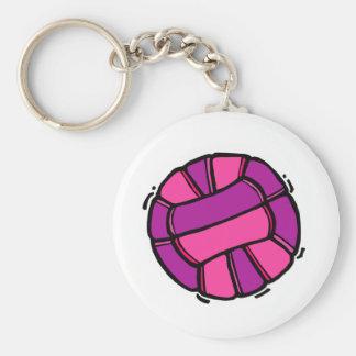 Voleibol rosado y púrpura llavero redondo tipo pin