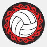 voleibol tribal pegatina redonda